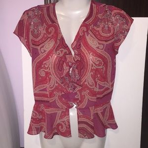 Victoria's Secret red sheer paisley top. Size S